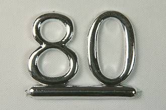 25mm Numeral 80, Silver (pack of 6)