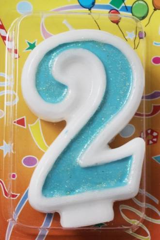 Candle Glitter Blue Number #2 (80mm)