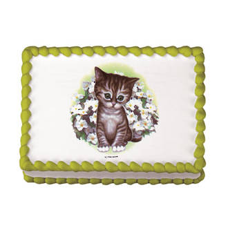 Kitten with Flowers Edible Icing Image round 16cm