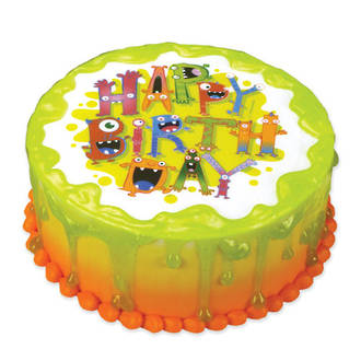 Monster Birthday Edible Icing Image round 16cm
