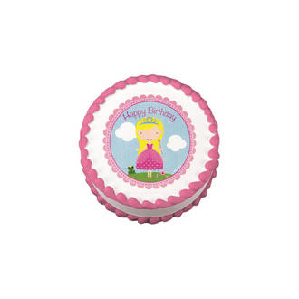 Birthday Princess Edible Icing Image round 16cm