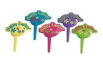 Happy Easter Plastic Pic, 50 x 60mm (Set of 5 - pink, green, blue, yellow, purple)