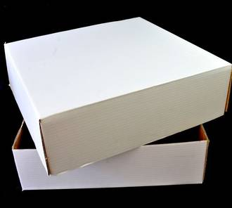 "Single Cake Box, 17"" x 17"" x 5"" with lid - Accommodates  1/2 Slab Block Cake"