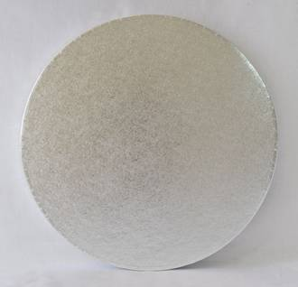 "Polystyrene Cake Board, Round, Silver Covered, 16"" (400mm)"