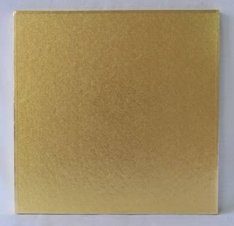 "Polystyrene Cake Board, Square, Gold Covered, 8"" (200mm)"