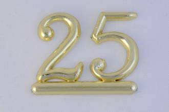 25mm Numeral 25, Gold (pack of 6)