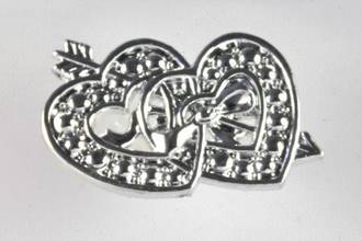 Silver 35mm Double Heart (pack of 6)