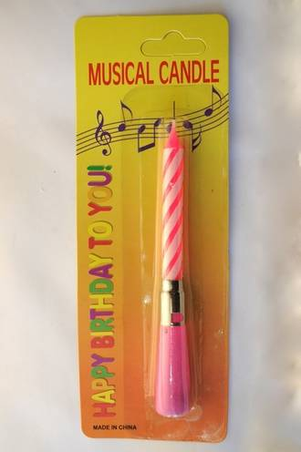 Happy Birthday Musical Candle (Pink, 110mm)