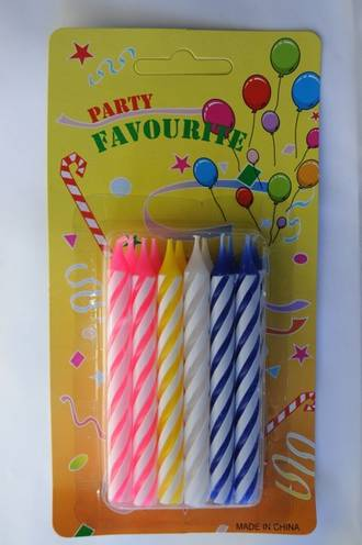 Candle Assorted Large Candy Stripe 85mm (12)