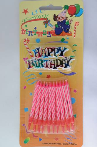 Candle & Holder Candy Striped Pink  (20) with 1 x Happy Birthday Motto