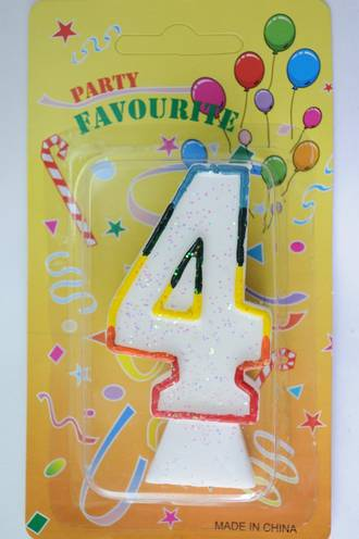 Candle White Multi Colour Edge Number #4 (80mm)