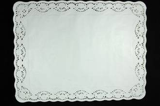 Doyleys, Rectangular 30 x 40cm white, Paper lace doyleys (250)