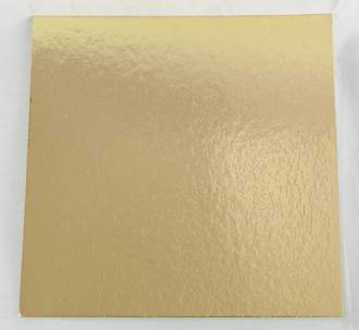 "225mm or 9"" Square 2mm Cake Card Gold - Bundle of 100"