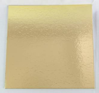 "225mm or 9"" Square 4mm Cake Card Gold"