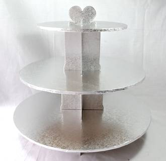 Cupcake Silver Stand, 3 Tier, 36cm base, 33cm high - SOLD OUT