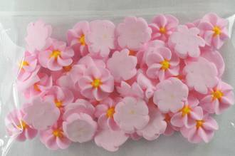 Icing Pink Drop Flowers 18mm (Packet of 50)