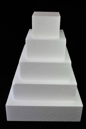 "9"" Square Cake Dummy, 75mm deep, Polystyrene"