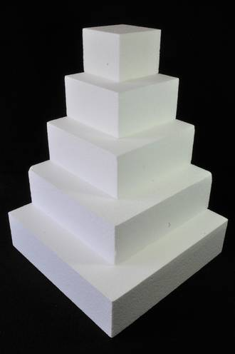 "7"" Square Cake Dummy, 75mm deep, Polystyrene"