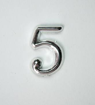 15mm Numeral 5, Silver