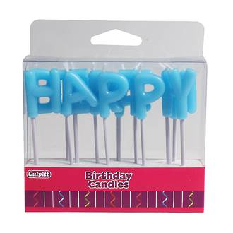 Happy Birthday Letter Candles - Blue