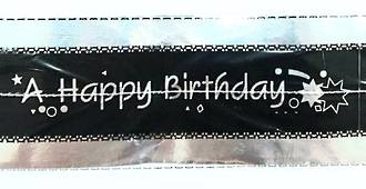 Cake Band Happy Birthday Black/Silver 63mm (1m)