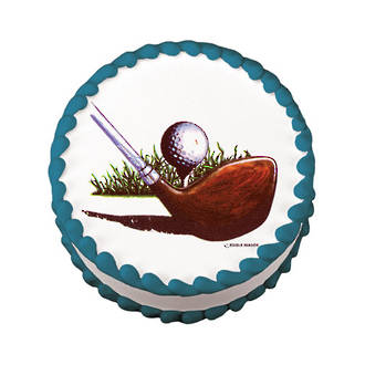Golf Ball and Club Edible Icing Image round 16cm