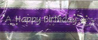 Cake Band Happy Birthday Purple/Silver 63mm (7m)
