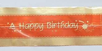 Cake Band Happy Birthday Red/Gold 63mm (7m)