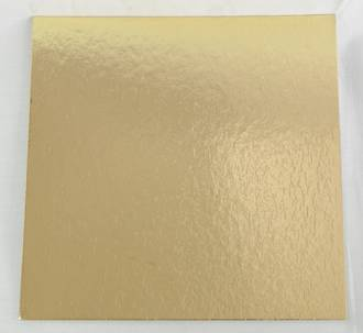 "100mm or 4"" 2mm Square Cake Card, Gold"