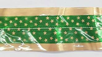 Cake Band Star Green/Gold  63mm (7m)