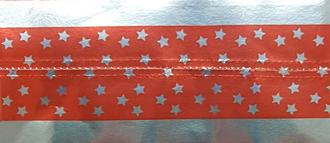 Cake Band Star Red/Silver 63mm (1m)