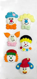 Clown Faces Assorted, 2D Icing (Retail Box of 6) - SOLD OUT