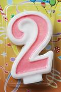 80mm Pink Glitter Number Candle #2