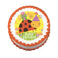 Birthday Bug Edible Icing Image round 16cm