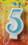80mm Blue Glitter Number Candle #5