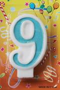 80mm Blue Glitter Number Candle #9