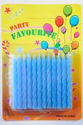 Light Blue Twist Candles.  Packet of 24