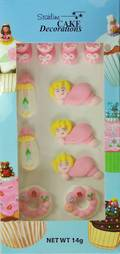 Baby Girl Collection, 2D Assorted Icing Items (Retail Box of 11)