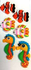 Fish (Assorted) 2D Icing.  Retail Box of 6, 20mm