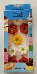 Poinsettia Flowers, Assorted, 30mm, 2D Icing (Retail Box of 8)