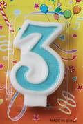 80mm Blue Glitter Number Candle #3