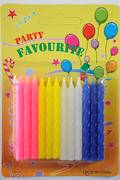 Assorted colour Twist Candles, 60mm,  Packet of 24