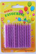 Purple Twist Candles 60mm  Packet of 24
